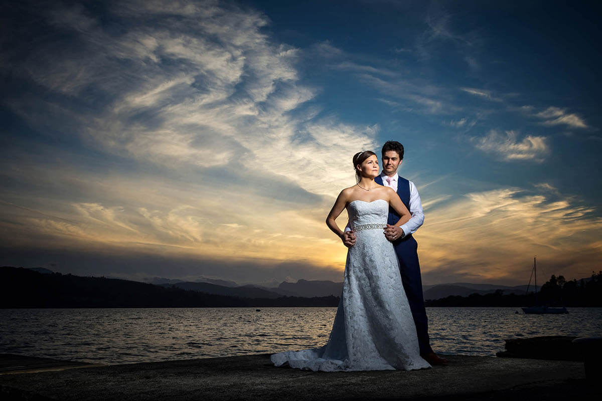 Stunning Lake District Wedding Photography on the shore of lake Windermere